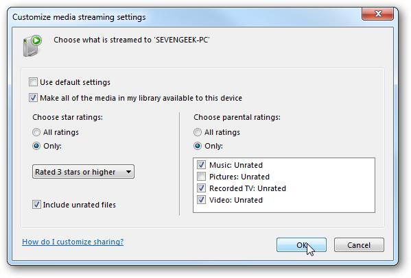 customise media streaming settings