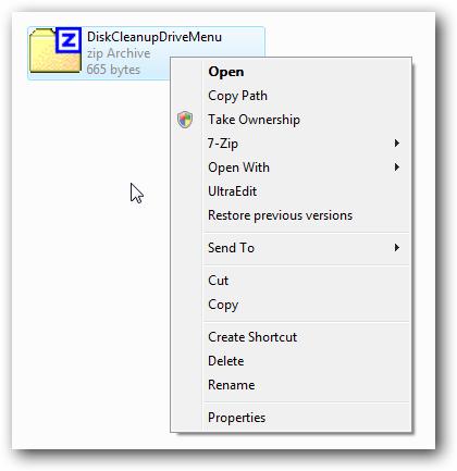 disk cleanup drive menu