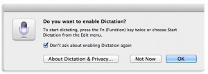 do you want to enable dictation pop up