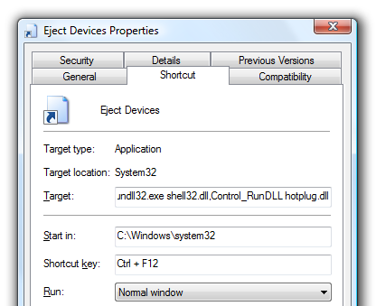 eject devices properties shortcut