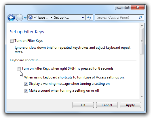 how to disable filter keys popup
