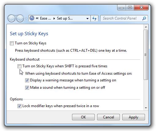 how to set up sticky keys
