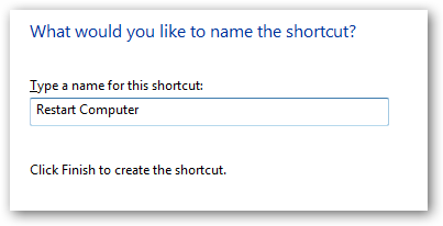 name shortcut to restart computer