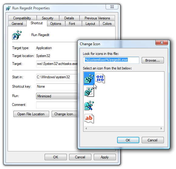 run shortcut and change icon