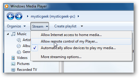 windows media player allow remote control of my player setting