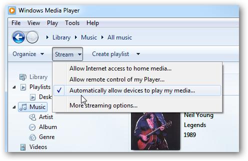 windows media player stream settings